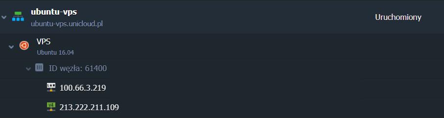 Lista środowisk UniCloud