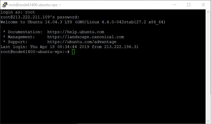 Ekran powitalny VPS Ubuntu